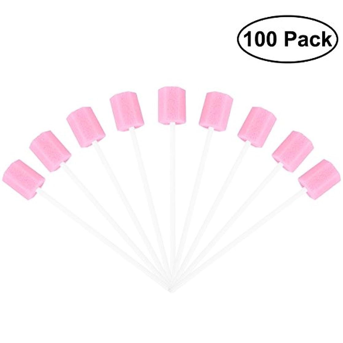 連邦ロードされた流産ROSENICE 使い捨てオーラルケアスポンジスワブ歯口洗浄スワブ100個(ピンク)