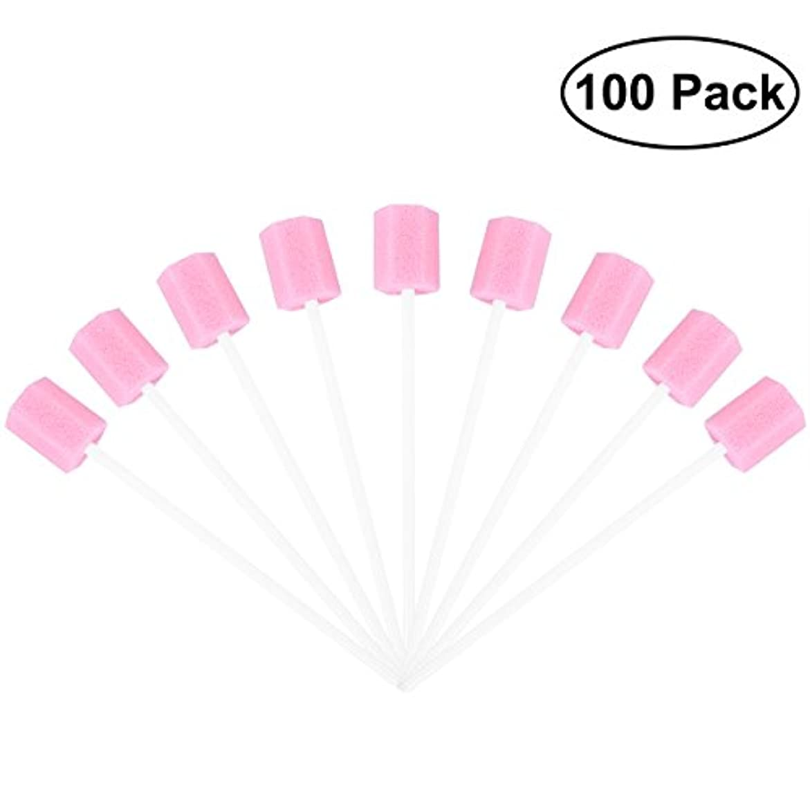 同一性ミリメートルサイトラインROSENICE 使い捨てオーラルケアスポンジスワブ歯口洗浄スワブ100個(ピンク)