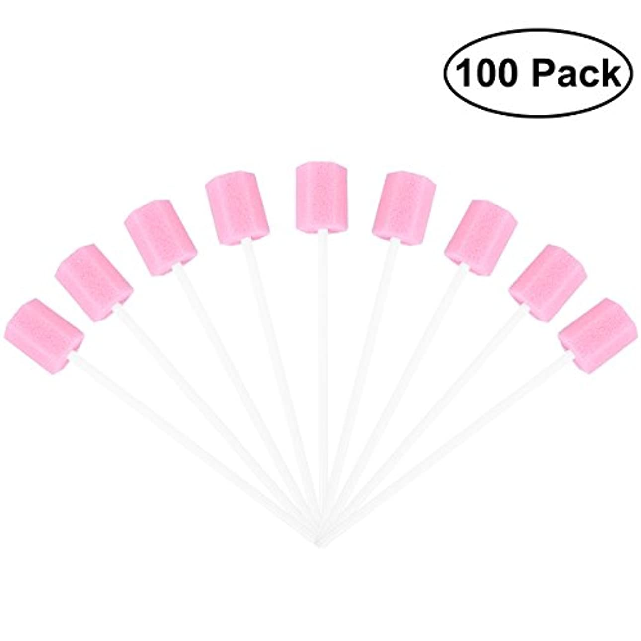 ROSENICE 使い捨てオーラルケアスポンジスワブ歯口洗浄スワブ100個(ピンク)