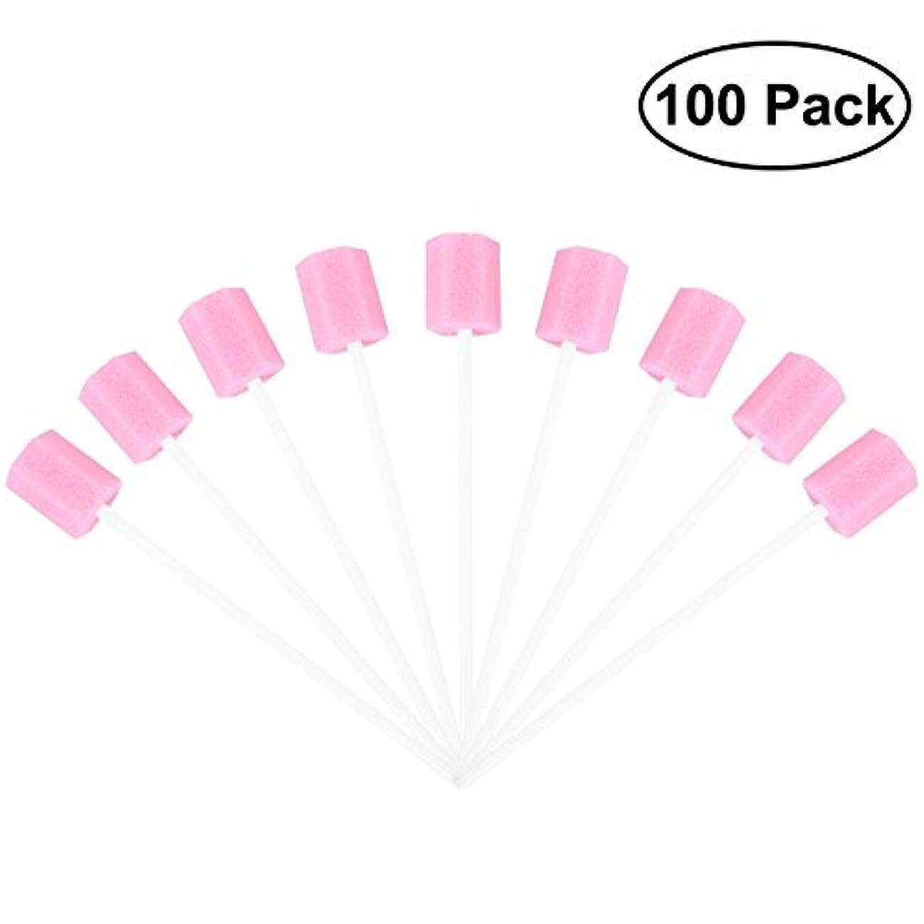 擬人直径窓を洗うROSENICE 使い捨てオーラルケアスポンジスワブ歯口洗浄スワブ100個(ピンク)