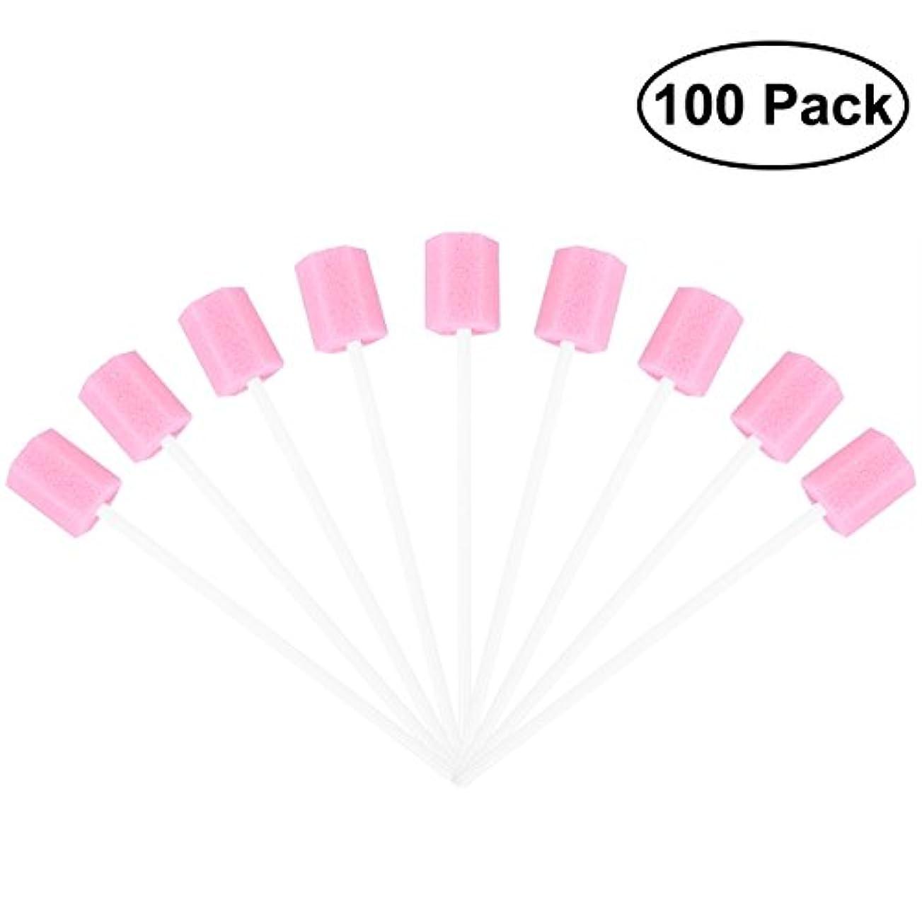 細心のあいまい信頼性のあるROSENICE 使い捨てオーラルケアスポンジスワブ歯口洗浄スワブ100個(ピンク)