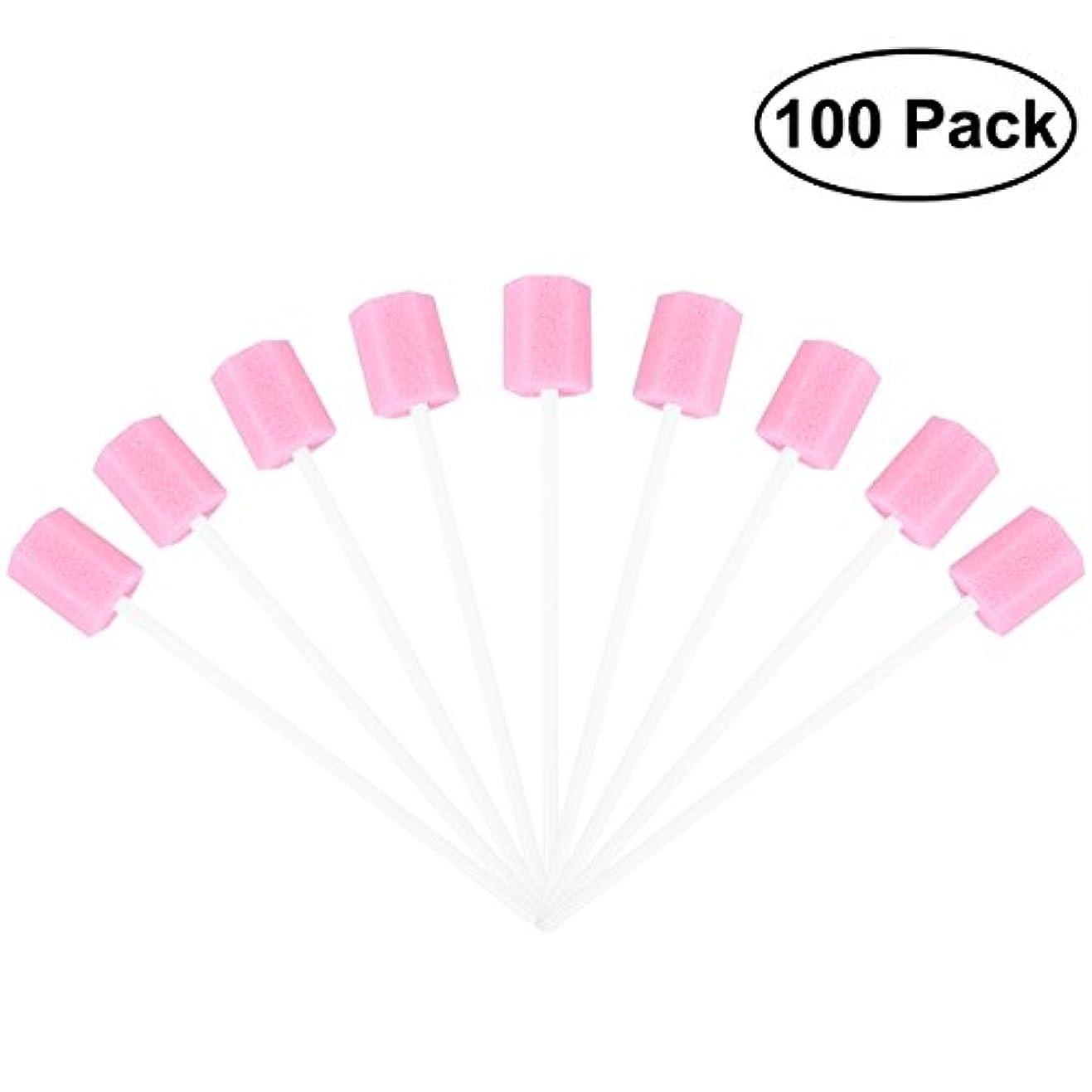 ポータル政治家付与ROSENICE 使い捨てオーラルケアスポンジスワブ歯口洗浄スワブ100個(ピンク)