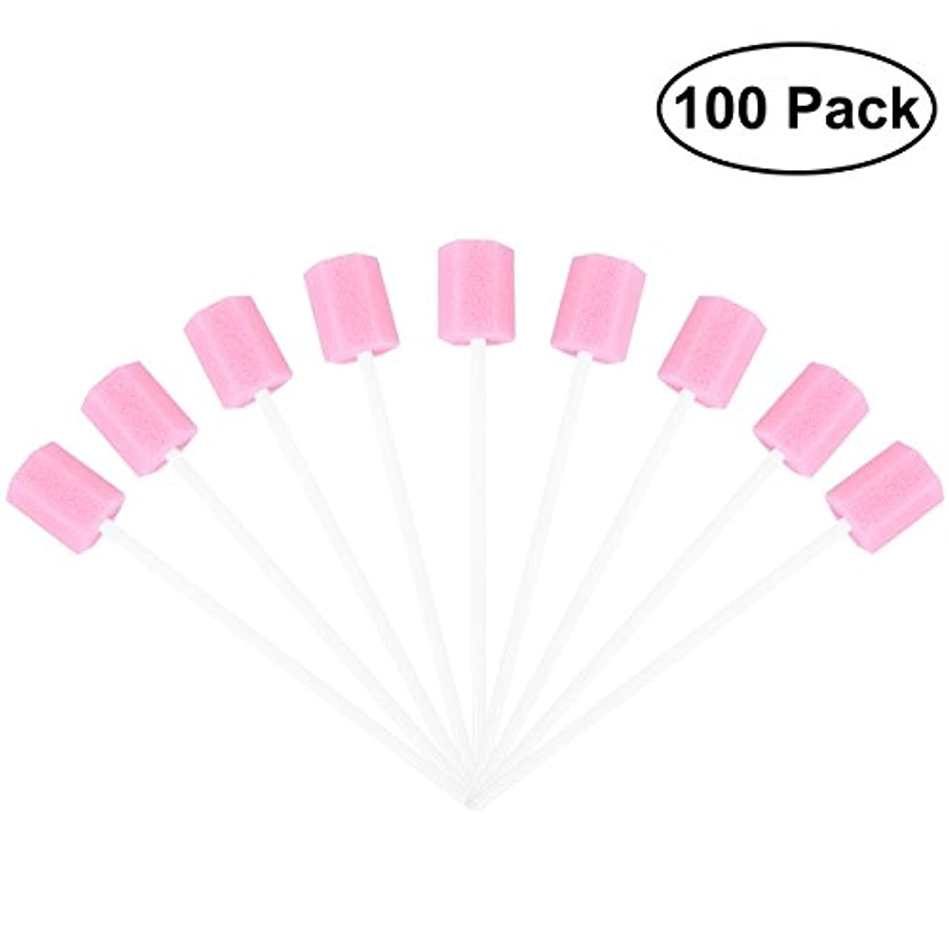 泥棒拡張手術ROSENICE 使い捨てオーラルケアスポンジスワブ歯口洗浄スワブ100個(ピンク)