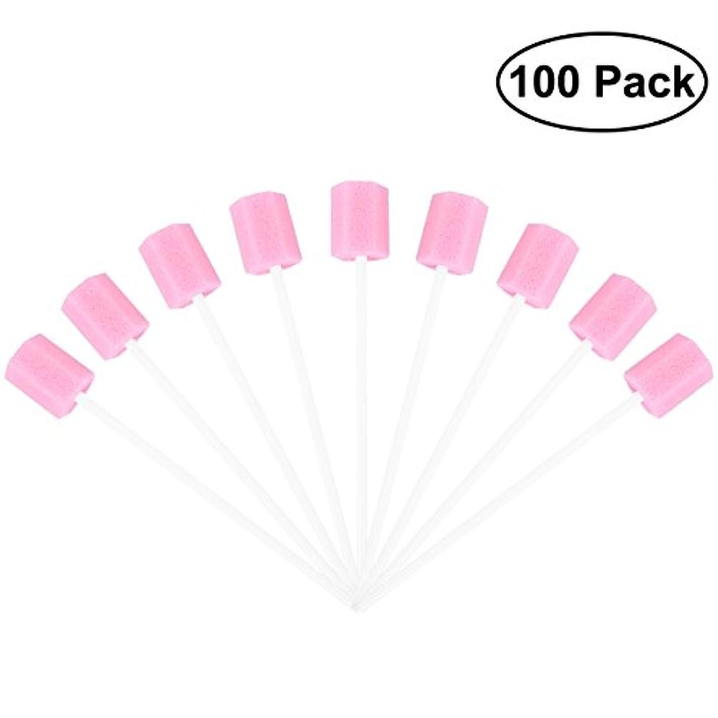 ジョージスティーブンソンガウン別々にROSENICE 使い捨てオーラルケアスポンジスワブ歯口洗浄スワブ100個(ピンク)