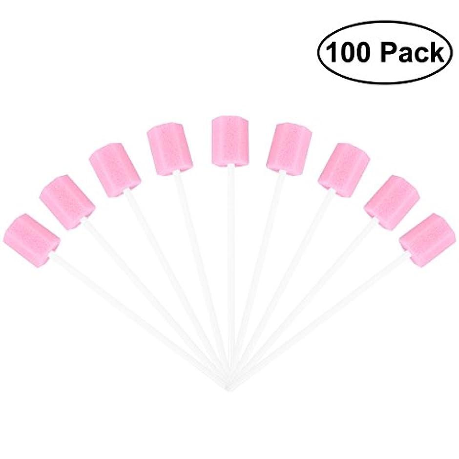 ドライブクリアマイクロフォンROSENICE 使い捨てオーラルケアスポンジスワブ歯口洗浄スワブ100個(ピンク)