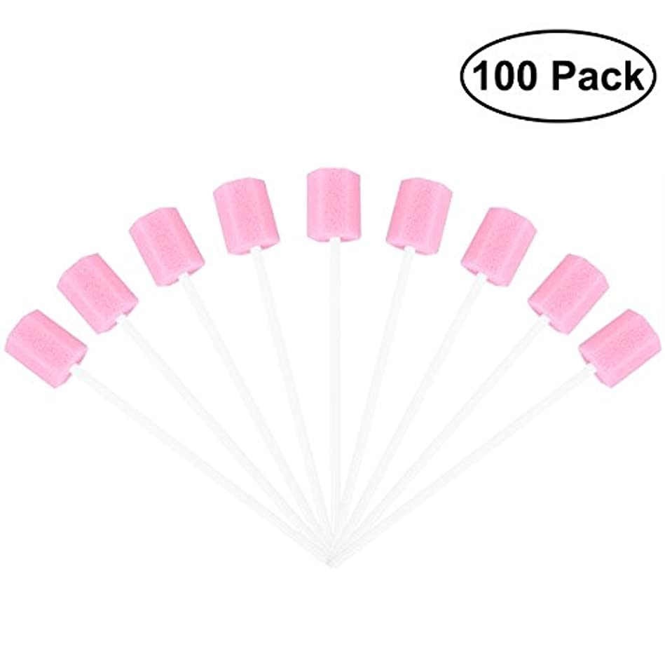 悲しみ鍔手首ROSENICE 使い捨てオーラルケアスポンジスワブ歯口洗浄スワブ100個(ピンク)
