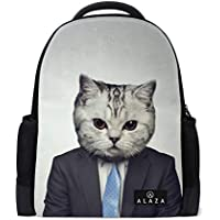Mydaily Cat in Business Suit Backpack 14 Inch Laptop Daypack Bookbag for Travel College School