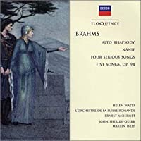 Brahms;Alto Rhapsody/Songs