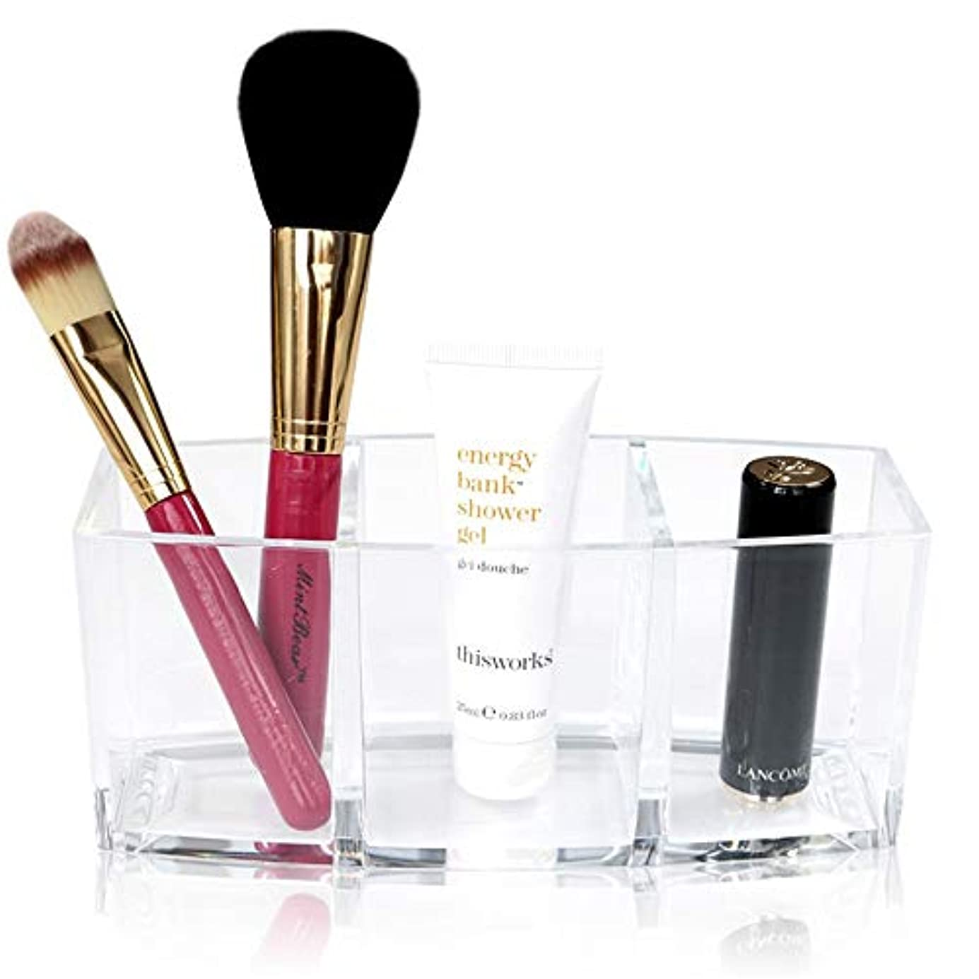 残る慰め立場整理簡単 シンプルなアクリル化粧ブラシと化粧品ホルダーオーガナイザー収納付き3コンパートメント誕生日プレゼント用彼女のアクリルデスクオーガナイザー (Color : Clear, Size : 18*7*8CM)