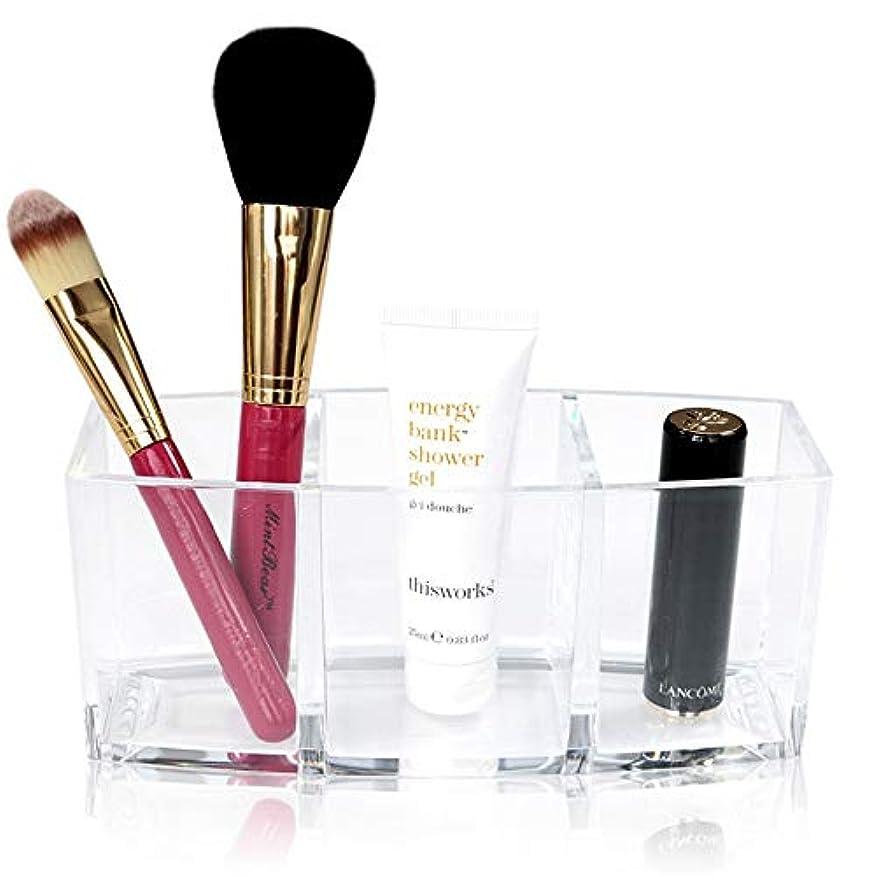 配列圧縮ビデオ整理簡単 シンプルなアクリル化粧ブラシと化粧品ホルダーオーガナイザー収納付き3コンパートメント誕生日プレゼント用彼女のアクリルデスクオーガナイザー (Color : Clear, Size : 18*7*8CM)