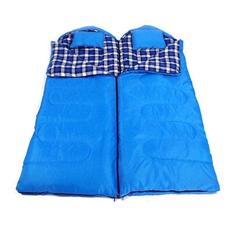 愛する見る挨拶カップルダブルクイーン寝袋封筒キャンプ軽量コンパクト暖かい快適な室内用スリーピングマット大人用ハイキングバックパック登山野外活動(色:青、デザイン