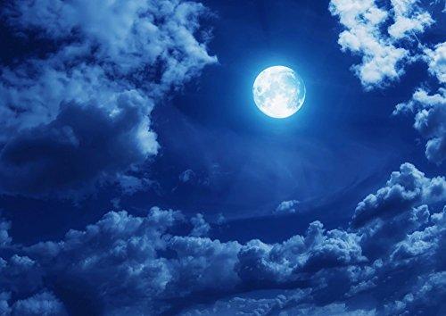 絵画風 壁紙ポスター (はがせるシール式) 月 スーパームーン Super Luna 満月の夜 天体 神秘 癒し キャラクロ MON-008A1 (A1版 830mm×585mm) 建築用壁紙+耐候性塗料