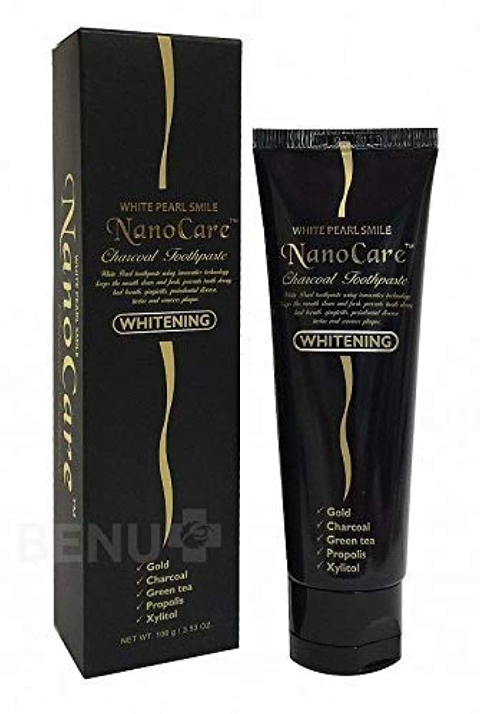 リクルート名門一目Nano Care Whitening Toothpaste with 24K Gold and Activated Charcoal nanoparticles 100 ml Made in Korea / 24Kゴールド...