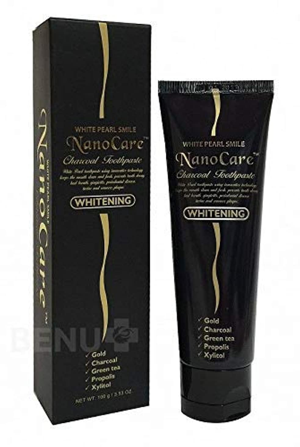 Nano Care Whitening Toothpaste with 24K Gold and Activated Charcoal nanoparticles 100 ml Made in Korea / 24Kゴールド...