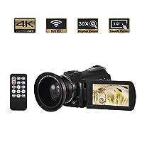 """ビデオカメラビデオカメラ4K 1080PのフルHDカメラ24MPリモコン付き3"""" IPS LCD Touchscreenscreenナイトビジョンビデオレコーダー"""
