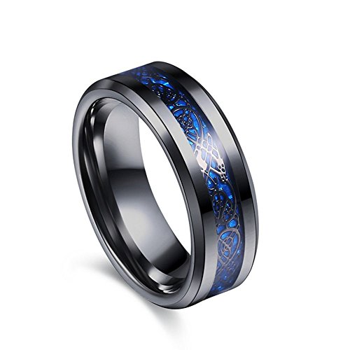 Varanda ドラゴンデザイン指輪 リング 龍紋 竜 メンズ ステンレス チタンリング チタン指輪 平打ち アクセサリー ブルー ブラック 20