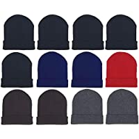 Sock Deal 12 Pack Winter Beanies Unisex Warm Cold Weather Hats Foldover Cuffed Skull Cap Men and Women (12 Pack Assorted Solids)