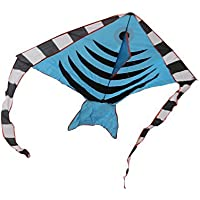 RoarSoar Uttarayan Fish Child or Adult Easy to Fly Kite 51/Large Blue/Black [並行輸入品]