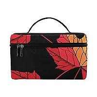CFHYJ メイクボックス コスメ収納 化粧品収納ケース 大容量 収納ボックス 化粧品入れ 化粧バッグ 旅行用 メイクブラシバッグ 化粧箱 持ち運び便利 プロ用 木の葉
