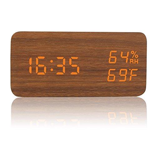 HEPHEASデジタル置き時計 LED 木目調 大音量 アラーム カレンダー付 温度湿度表示 音声感知 USB給電 木目調