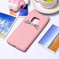 TPU 保護カバー ケース カバー 傷防止 Huawei Mate 20 Pro用ネコウィスカパターンシリコン保護ケース (色 : ピンク)