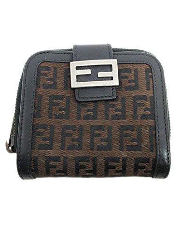 FENDI(フェンディ) ズッキーノ 二つ折り財布 8M0070 黒 ブラック×茶 ブラウン キャンバス×レザー 【ブランド財布】 【中古】