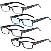 Eyekepper Reading Glasses 4 Pack Fashion Spring Hinge Readers Great Value Quality Glasses Women Reading +3.00