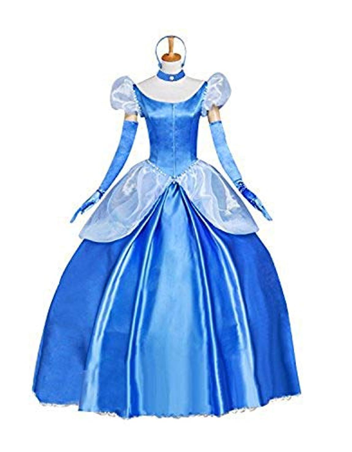 破壊石鹸ところでシンデレラ 童話 コスプレ 衣装 セット 舞踏会 ワンピース 魔法のドレス パニエ付き レディース (M)