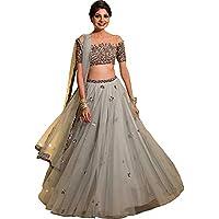 Indian Clothing Store Lehenga Choli Women's Embroidered Multicolour Semi Stitched lehengas, Lehenga Choli (Freesize) Grey