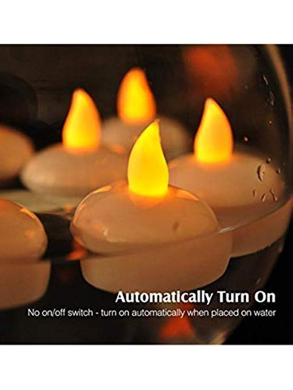 柔らかい足是正する資金loguide 24パック防水FlamelessフローティングTealights、ちらつき黄色電池式LEDティーライトキャンドル – ウェディング、パーティー、Centerpiece、プールの装飾
