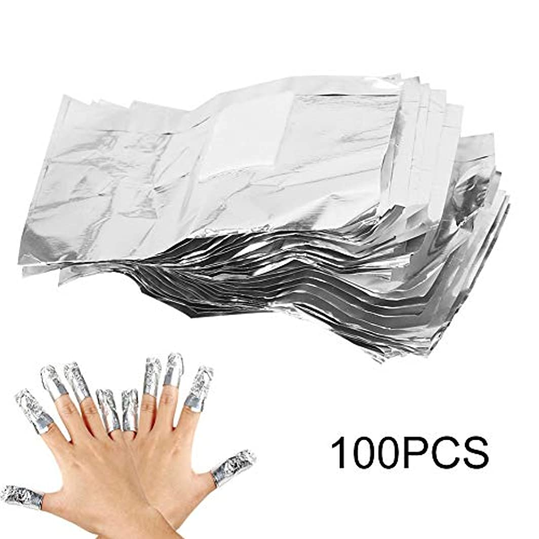 ネイルポリッシュリムーバークリップ マニキュアの除去剤 錫ホイル 100Pcs オレンジ 色棒付き紫外線ゲルの除去剤の綿パッドを包みます