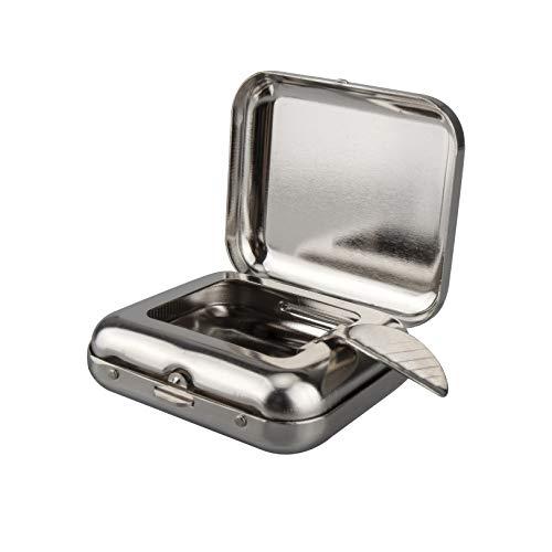 携帯灰皿 ステンレス ポケットケース 吸殻入れ タバコ置きスタンド付き 軽量 便利 シルバー TEMLUM