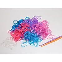 紗や工房 約3000個 5色x約600個 ルームバンド(Loom Bands) ラメ人気カラーセット 編み棒?Cカン付き カラフルゴム カラーバンド