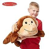 Melissa & Doug ぬいぐるみ サル ジャンボ 動物 (枕 おもちゃ 再利用可能なアクティビティカード ネームタグ 長さ2フィート以上)