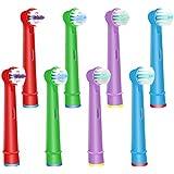 WyFun互换性 Oral B 歯ブラシヘッド 子供用 子供 电动歯ブラシヘッド 交换 ヘッド Braun 互换性 3Dホワイト デュアルクリーン プレシジョンクリーン ホワイトクリーン 8パック 子供用(8カウント)