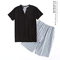 MUMUWUSG Mens Pajamas Sexy V-neck 100% Cotton Short Pajamas Sets Men Summer Simple Plaid Pijamas For Male Short Sleeves (Color : Black Gray, Size : XL)