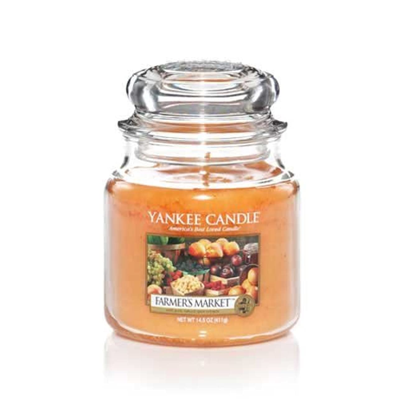自転車シーンバレーボールYankee Candle Farmer 's Market Medium Jar Candle, Food & Spice香り