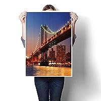 ウォールアート絵画描画 NYC 都市景観観観 観光 旅行 工業 センタータウン モダン 都市 キャンバスプリント 風景画 写真 油絵 家庭用 (フレームなし) 16 x 28inch(40x70cm)/1pc