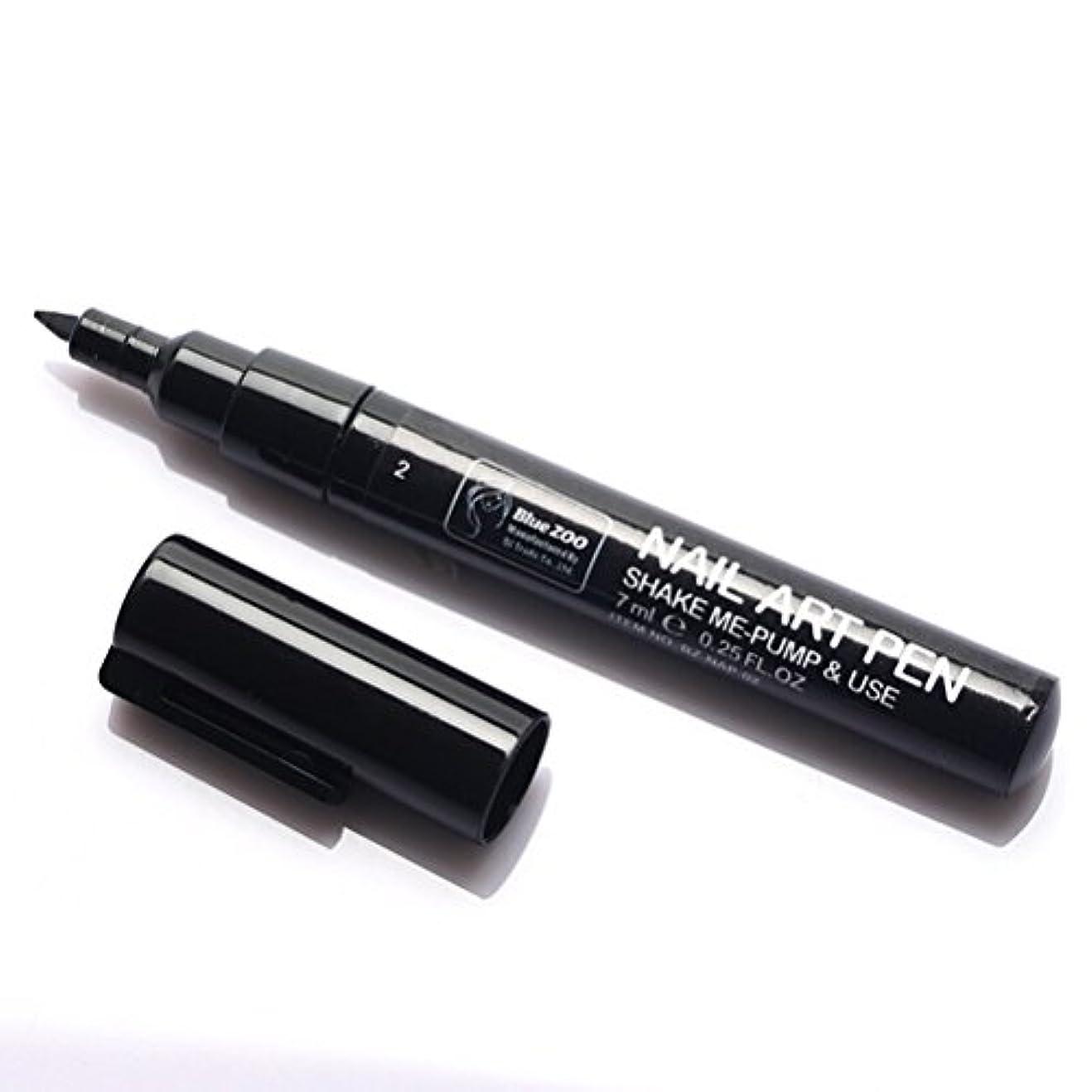 便利さ健康横(メイクアップエーシーシー) MakeupAcc カラーネイルアートペン 3Dネイルペン ネイルアートペン ネイルマニキュア液 ペイントペン ペイント 両用 DIY 16色 (黒い) [並行輸入品]