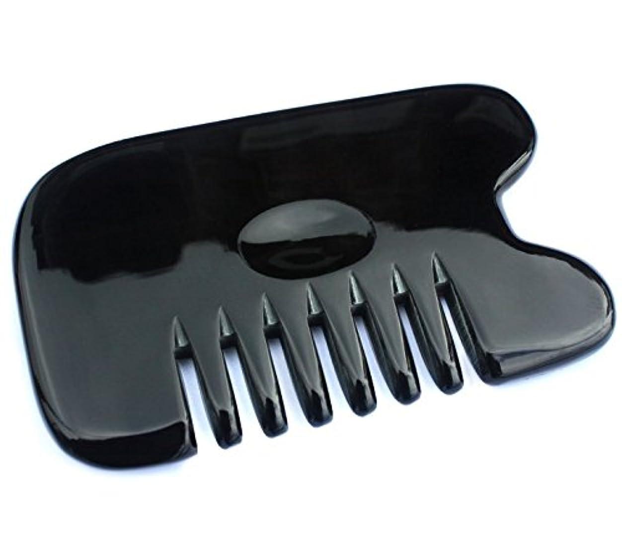 カストディアンで慣習櫛型 プロも使う牛角かっさプレート マサージ用 血行改善 高級 天然 静電気防止 美髪 美顔 ボディ リンパマッサージ