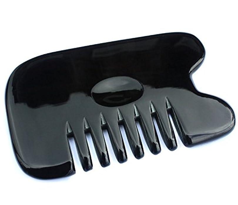 光沢のあるあからさま絶対に櫛型 プロも使う牛角かっさプレート マサージ用 血行改善 高級 天然 静電気防止 美髪 美顔 ボディ リンパマッサージ