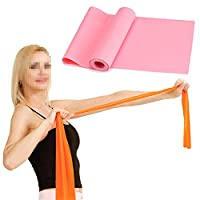 (Pink) - Wowlife 1.8M Yoga Elastic Strap Pilates Stretch Out Strap Dancer Rubber Stretch Resistance Exercise Fitness Band