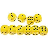 Baosity 10個 木製 サイコロ ダイス 骰子 賽子 DND MTGゲーム用 小道具 全7色 - イエロー