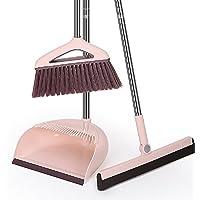掃除セット自立式 ダストパン ホウキ ホーム 美容室 ショップ チリトリ 室内 掃除 清掃用品 (3点セット) (ピンク)