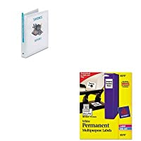 kitave05711ave6570–Valueキット–Avery Permanent IDラベル( ave6570)とAvery経済ビューBinder withラウンドリング( ave05711)