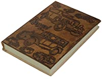 Crafkart 手作り レザー アート ジャーナル スケッチブック ブック ブック 大型 エンボス加工 レザー 生命の樹 ジャーナル - ブラウン