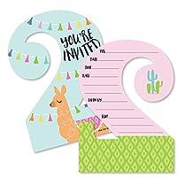 2歳の誕生日 ラマの楽しみ - 形の詰め込み式招待状 - ラマフィエスタ 2歳の誕生日パーティー 招待カード 封筒付き - 12枚セット