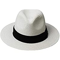 Womens Sun Straw Panama Hat - Foldable Floppy Wide Brim Hat Beach Cap UPF50