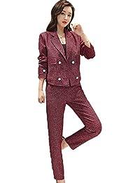 [美しいです] レディース スーツ コート ズボン パンツ セット 二点セット 折り襟 長袖 レジャー OL スリム 春 秋 就活 通勤 ビジネス用 面接