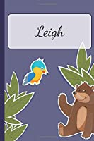 Leigh: Personalized Notebooks • Sketchbook for Kids with Name Tag • Drawing for Beginners with 110 Dot Grid Pages • 6x9 / A5 size Name Notebook • Perfect as a Personal Gift • Planner and Journal for kids